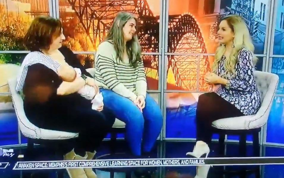 doula zoe etkin interviewed on local memphis live with host and mother with baby