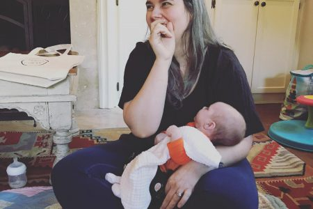 doula zoe etkin with baby at mama circle gathering